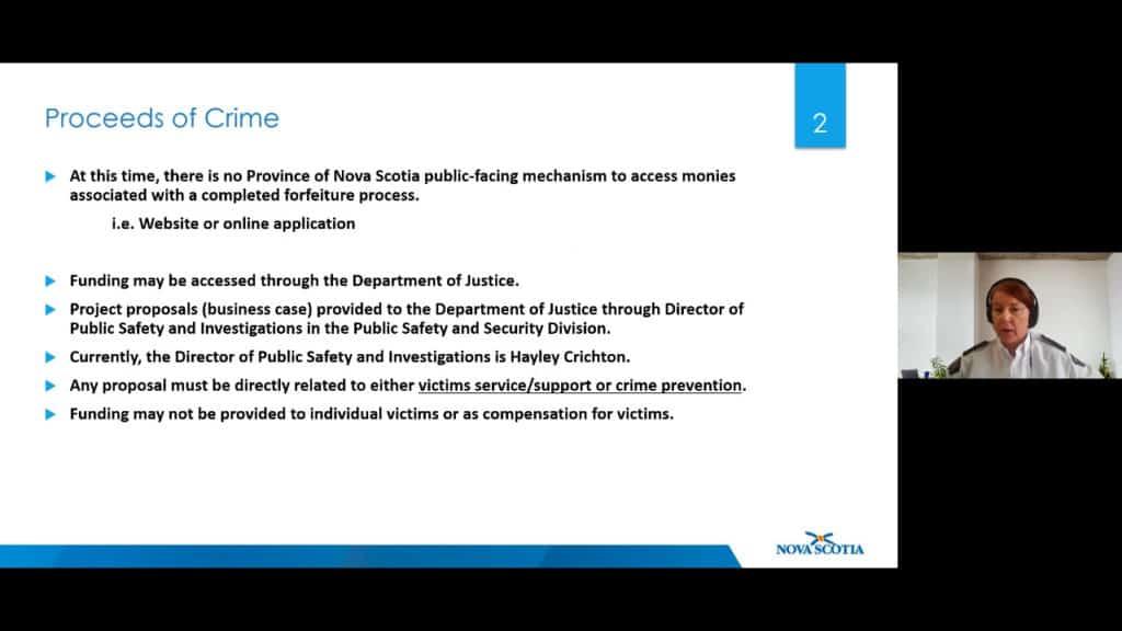 """Image of slide from presentation. Slide title: """"Proceeds of Crime."""""""