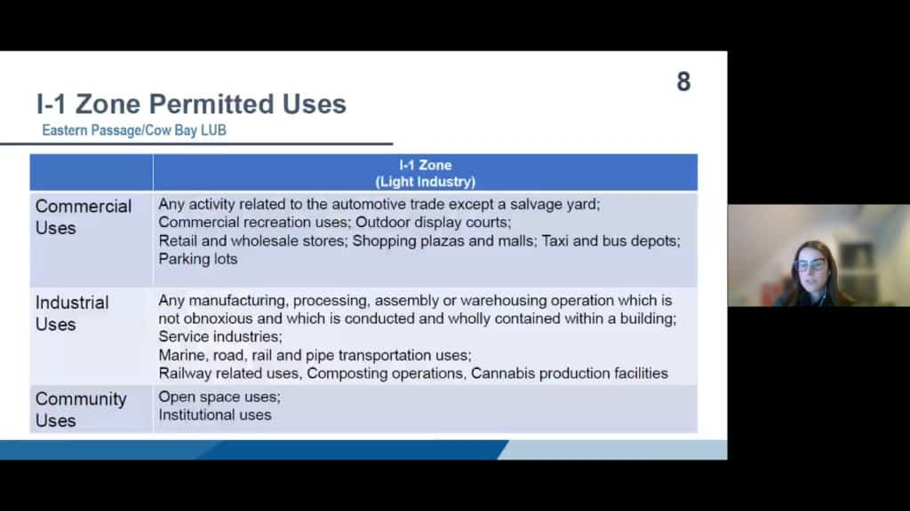 Presentation slide from Zzap. Slide title: i-1 Zone Permitted Uses; Eastern Passage/Cow Bay LUB. Table with heading i-1 Zone, rows labeled Commercial Uses, Industrial uses and Community Uses. Slide details the various uses in these three catagories.